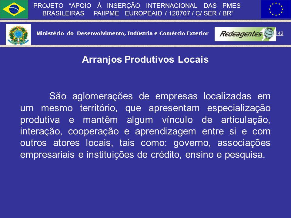 Ministério do Desenvolvimento, Indústria e Comércio Exterior 141 PROJETO APOIO À INSERÇÃO INTERNACIONAL DAS PMES BRASILEIRAS PAIIPME EUROPEAID / 12070
