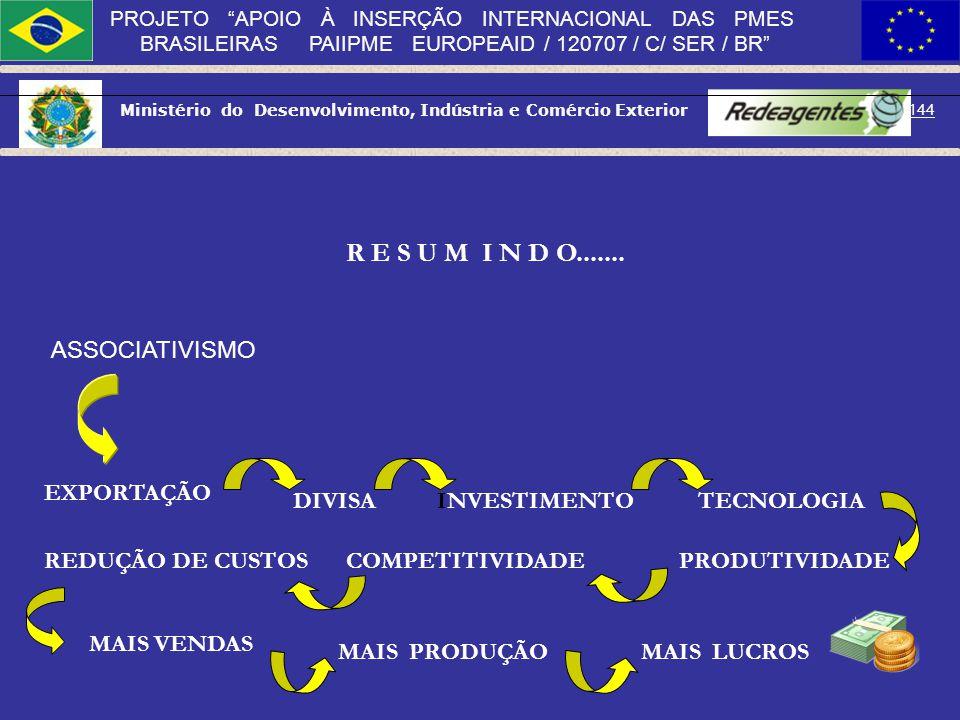 Ministério do Desenvolvimento, Indústria e Comércio Exterior 143 PROJETO APOIO À INSERÇÃO INTERNACIONAL DAS PMES BRASILEIRAS PAIIPME EUROPEAID / 12070