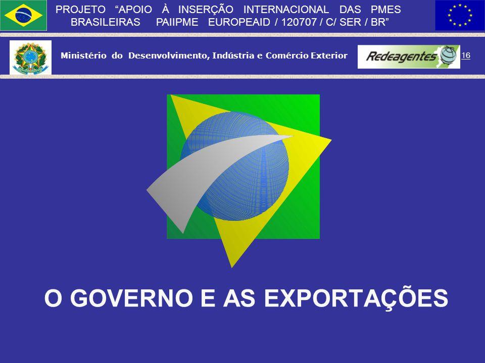 Ministério do Desenvolvimento, Indústria e Comércio Exterior 15 PROJETO APOIO À INSERÇÃO INTERNACIONAL DAS PMES BRASILEIRAS PAIIPME EUROPEAID / 120707