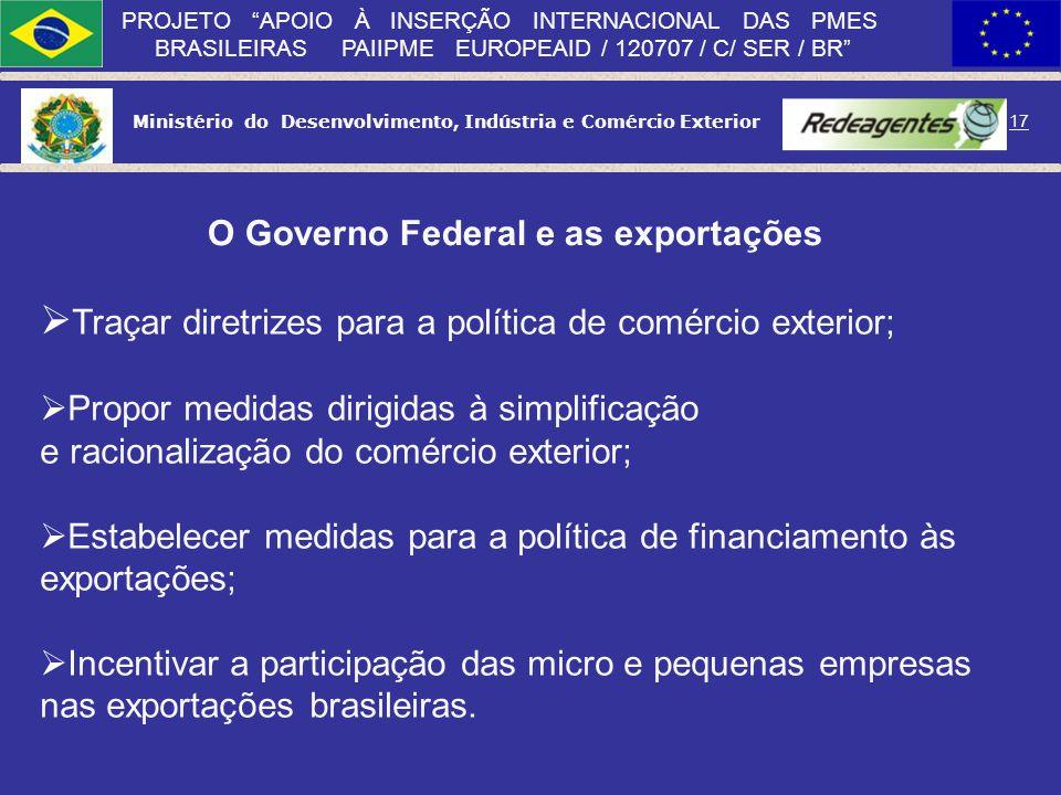 Ministério do Desenvolvimento, Indústria e Comércio Exterior 16 PROJETO APOIO À INSERÇÃO INTERNACIONAL DAS PMES BRASILEIRAS PAIIPME EUROPEAID / 120707