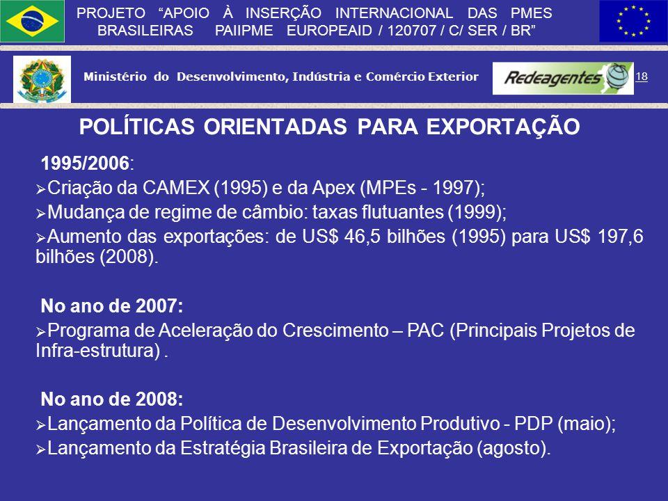 Ministério do Desenvolvimento, Indústria e Comércio Exterior 17 PROJETO APOIO À INSERÇÃO INTERNACIONAL DAS PMES BRASILEIRAS PAIIPME EUROPEAID / 120707