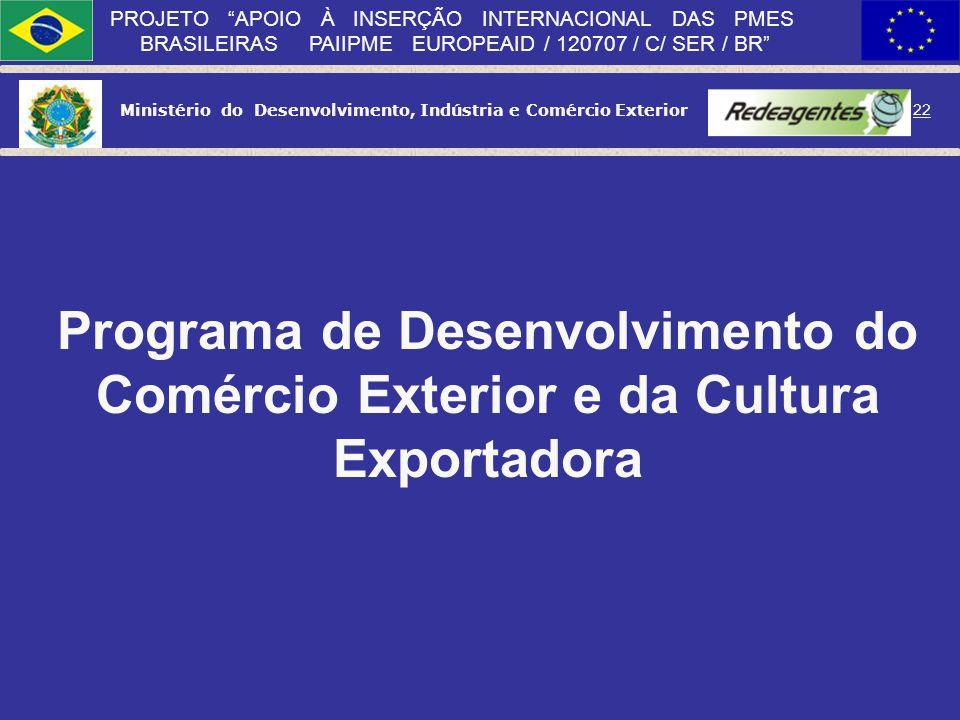 Ministério do Desenvolvimento, Indústria e Comércio Exterior 21 PROJETO APOIO À INSERÇÃO INTERNACIONAL DAS PMES BRASILEIRAS PAIIPME EUROPEAID / 120707