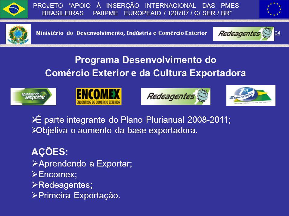 Ministério do Desenvolvimento, Indústria e Comércio Exterior 23 PROJETO APOIO À INSERÇÃO INTERNACIONAL DAS PMES BRASILEIRAS PAIIPME EUROPEAID / 120707