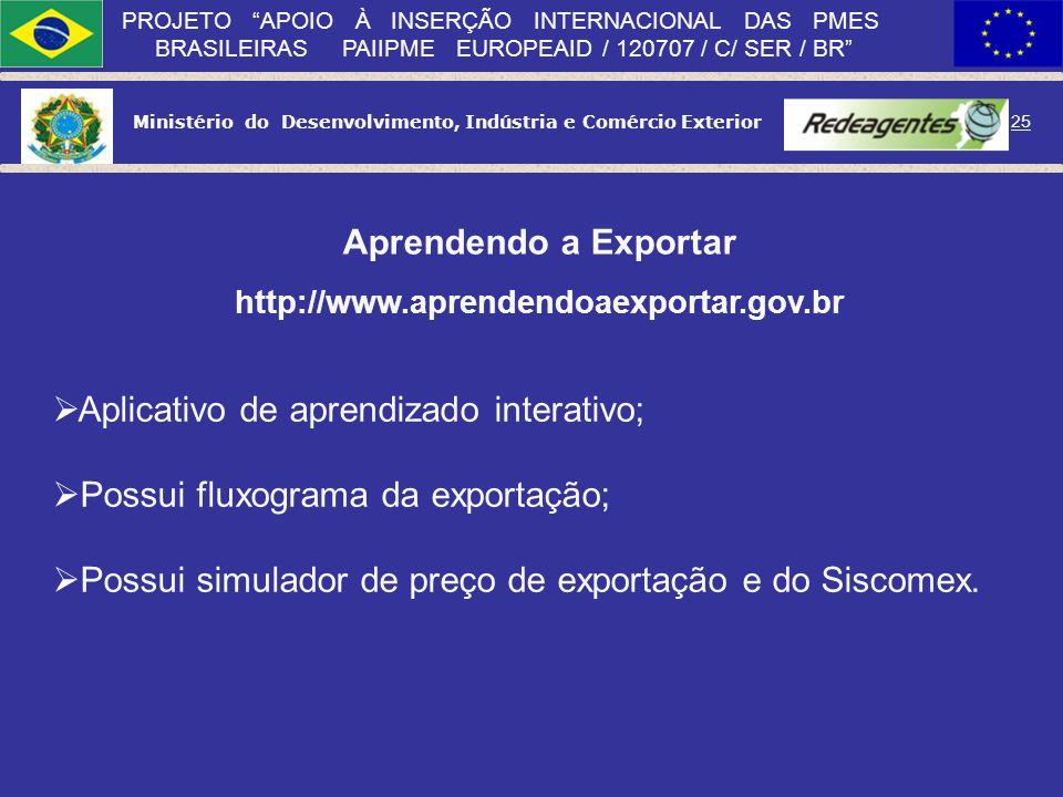 Ministério do Desenvolvimento, Indústria e Comércio Exterior 24 PROJETO APOIO À INSERÇÃO INTERNACIONAL DAS PMES BRASILEIRAS PAIIPME EUROPEAID / 120707