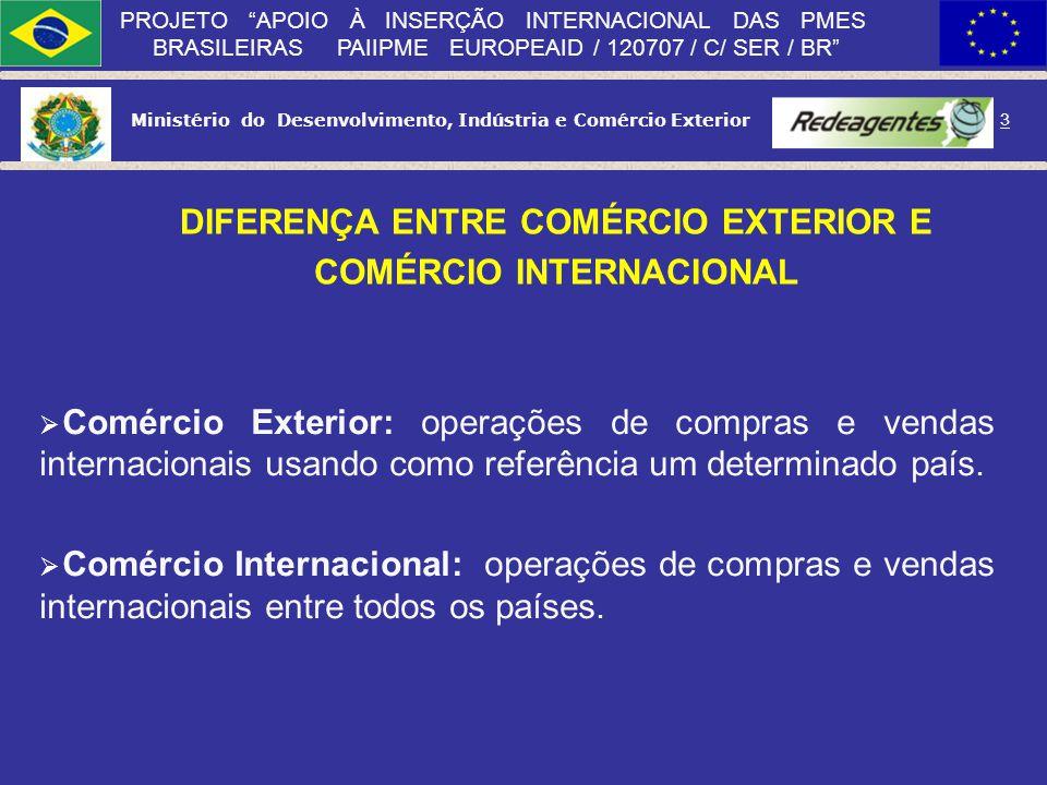 Ministério do Desenvolvimento, Indústria e Comércio Exterior 2 PROJETO APOIO À INSERÇÃO INTERNACIONAL DAS PMES BRASILEIRAS PAIIPME EUROPEAID / 120707