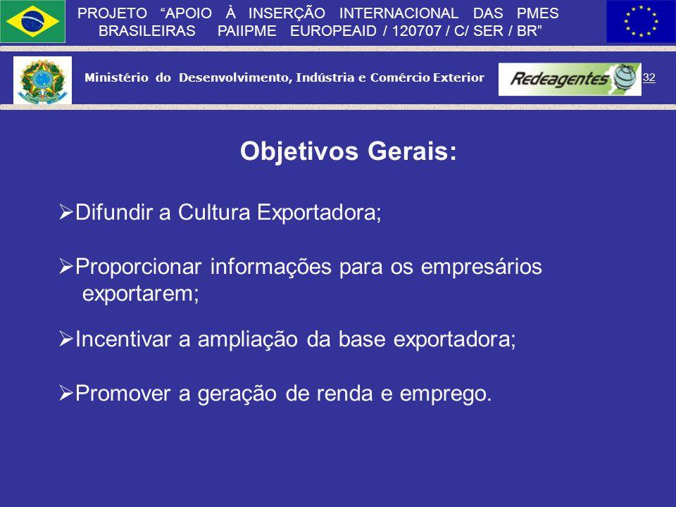 Ministério do Desenvolvimento, Indústria e Comércio Exterior 31 PROJETO APOIO À INSERÇÃO INTERNACIONAL DAS PMES BRASILEIRAS PAIIPME EUROPEAID / 120707