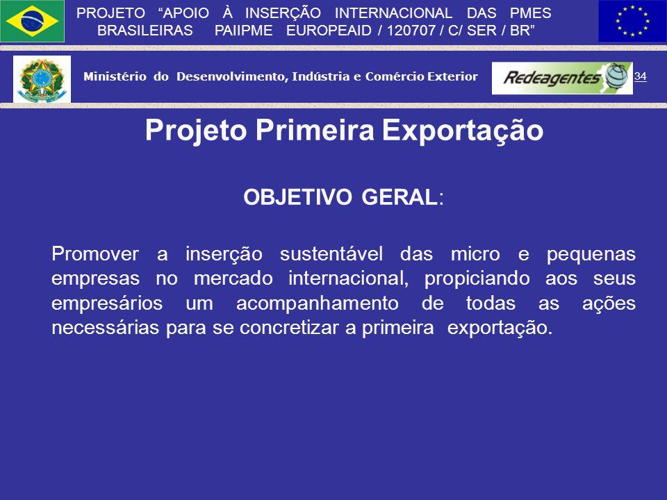 Ministério do Desenvolvimento, Indústria e Comércio Exterior 33 PROJETO APOIO À INSERÇÃO INTERNACIONAL DAS PMES BRASILEIRAS PAIIPME EUROPEAID / 120707