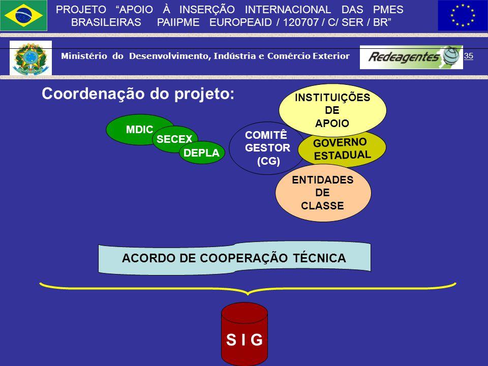 Ministério do Desenvolvimento, Indústria e Comércio Exterior 34 PROJETO APOIO À INSERÇÃO INTERNACIONAL DAS PMES BRASILEIRAS PAIIPME EUROPEAID / 120707