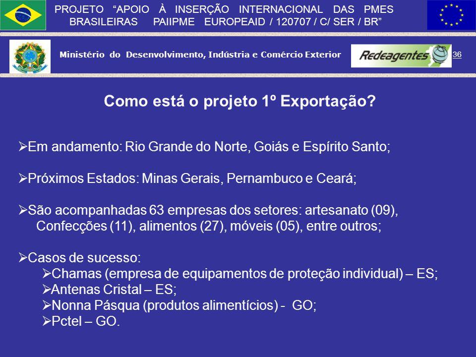 Ministério do Desenvolvimento, Indústria e Comércio Exterior 35 PROJETO APOIO À INSERÇÃO INTERNACIONAL DAS PMES BRASILEIRAS PAIIPME EUROPEAID / 120707