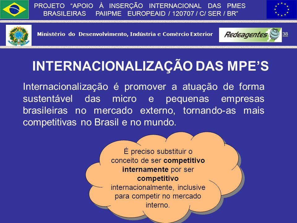 Ministério do Desenvolvimento, Indústria e Comércio Exterior 37 PROJETO APOIO À INSERÇÃO INTERNACIONAL DAS PMES BRASILEIRAS PAIIPME EUROPEAID / 120707
