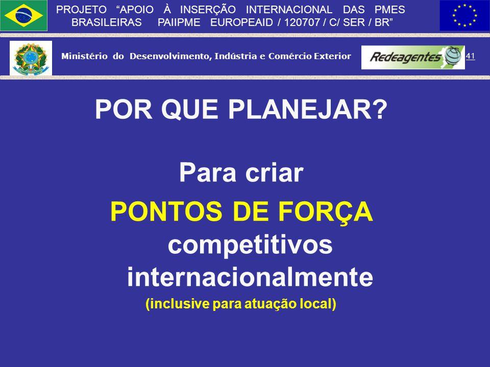 Ministério do Desenvolvimento, Indústria e Comércio Exterior 40 PROJETO APOIO À INSERÇÃO INTERNACIONAL DAS PMES BRASILEIRAS PAIIPME EUROPEAID / 120707