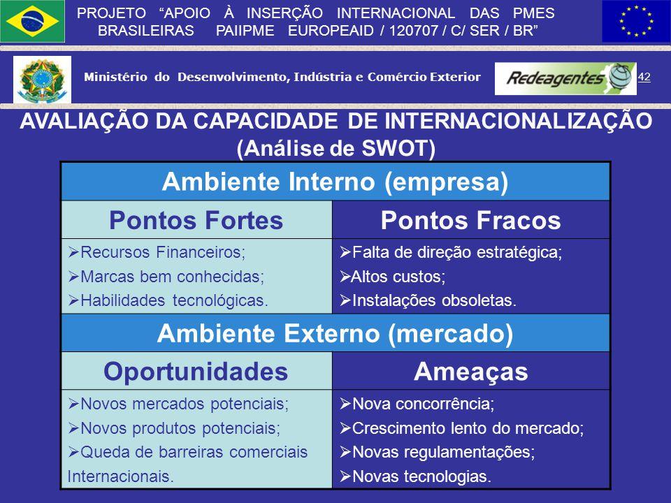 Ministério do Desenvolvimento, Indústria e Comércio Exterior 41 PROJETO APOIO À INSERÇÃO INTERNACIONAL DAS PMES BRASILEIRAS PAIIPME EUROPEAID / 120707