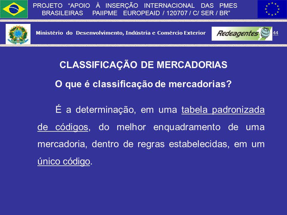 Ministério do Desenvolvimento, Indústria e Comércio Exterior 43 PROJETO APOIO À INSERÇÃO INTERNACIONAL DAS PMES BRASILEIRAS PAIIPME EUROPEAID / 120707