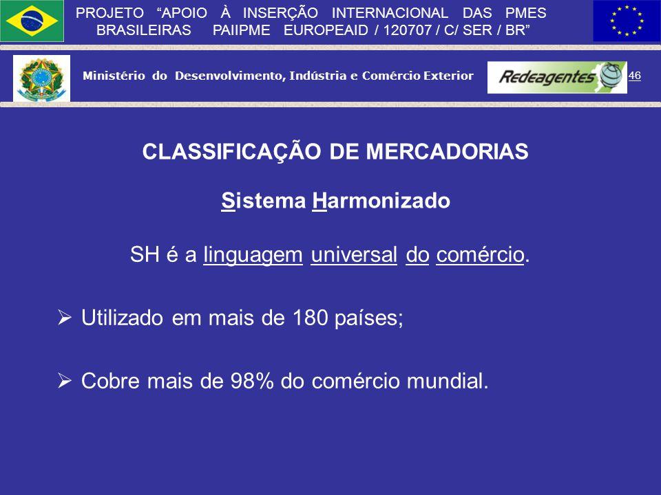 Ministério do Desenvolvimento, Indústria e Comércio Exterior 45 PROJETO APOIO À INSERÇÃO INTERNACIONAL DAS PMES BRASILEIRAS PAIIPME EUROPEAID / 120707