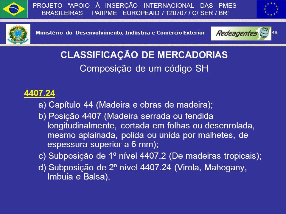 Ministério do Desenvolvimento, Indústria e Comércio Exterior 48 PROJETO APOIO À INSERÇÃO INTERNACIONAL DAS PMES BRASILEIRAS PAIIPME EUROPEAID / 120707