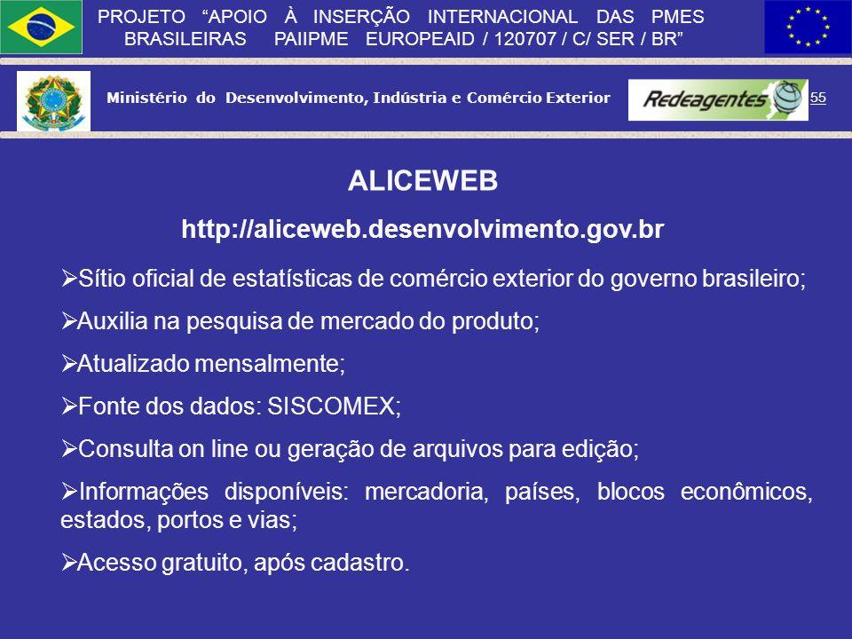Ministério do Desenvolvimento, Indústria e Comércio Exterior 54 PROJETO APOIO À INSERÇÃO INTERNACIONAL DAS PMES BRASILEIRAS PAIIPME EUROPEAID / 120707