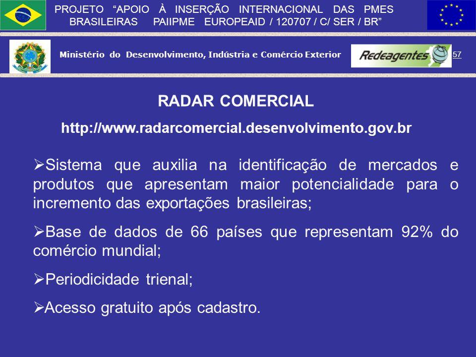 Ministério do Desenvolvimento, Indústria e Comércio Exterior 56 PROJETO APOIO À INSERÇÃO INTERNACIONAL DAS PMES BRASILEIRAS PAIIPME EUROPEAID / 120707