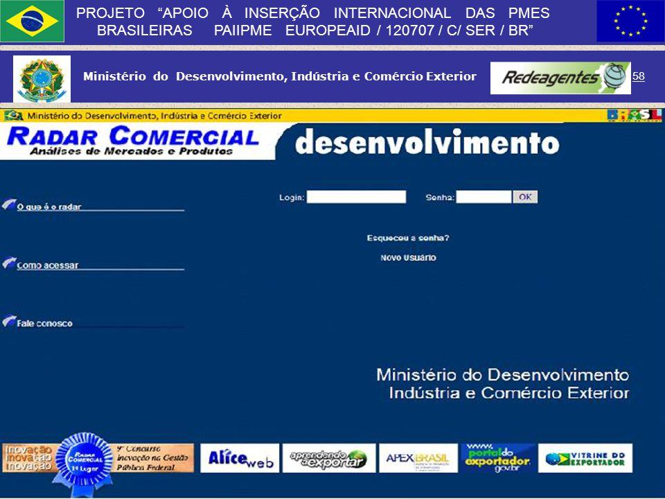 Ministério do Desenvolvimento, Indústria e Comércio Exterior 57 PROJETO APOIO À INSERÇÃO INTERNACIONAL DAS PMES BRASILEIRAS PAIIPME EUROPEAID / 120707