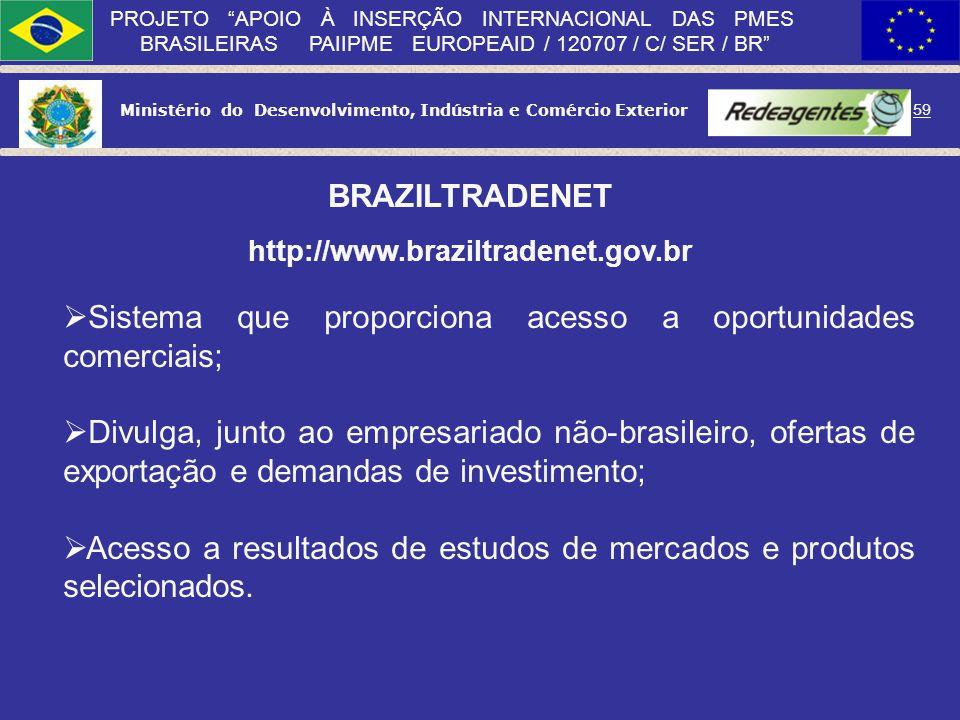 Ministério do Desenvolvimento, Indústria e Comércio Exterior 58 PROJETO APOIO À INSERÇÃO INTERNACIONAL DAS PMES BRASILEIRAS PAIIPME EUROPEAID / 120707