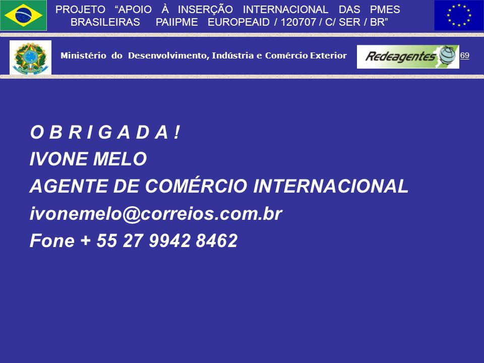 Ministério do Desenvolvimento, Indústria e Comércio Exterior 68 PROJETO APOIO À INSERÇÃO INTERNACIONAL DAS PMES BRASILEIRAS PAIIPME EUROPEAID / 120707