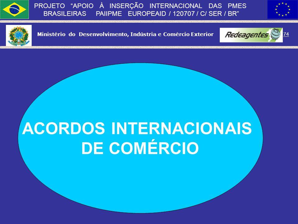 73 PROJETO APOIO À INSERÇÃO INTERNACIONAL DAS PMES BRASILEIRAS PAIIPME EUROPEAID / 120707 / C/ SER / BR PRODUTO: Qualidade; Embalagem; Design; Marca;