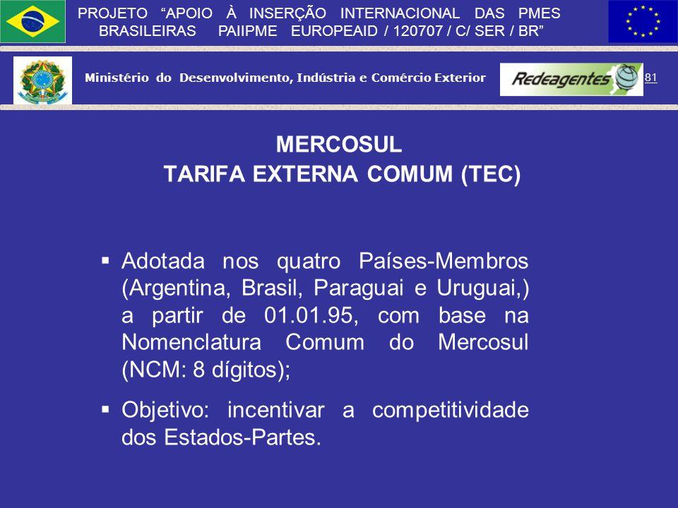 Ministério do Desenvolvimento, Indústria e Comércio Exterior 80 PROJETO APOIO À INSERÇÃO INTERNACIONAL DAS PMES BRASILEIRAS PAIIPME EUROPEAID / 120707