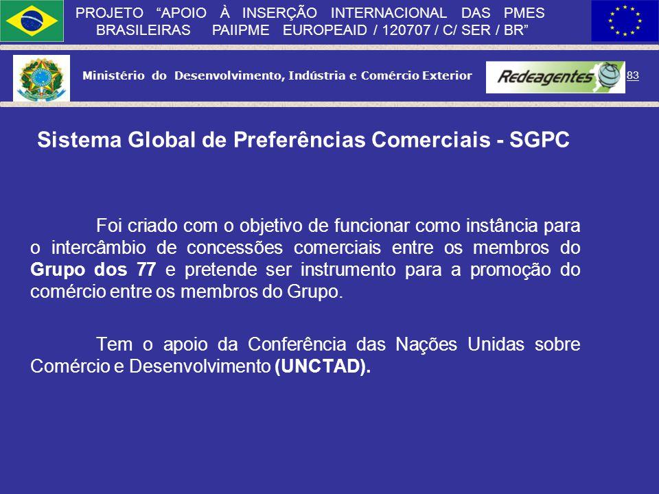 Ministério do Desenvolvimento, Indústria e Comércio Exterior 82 PROJETO APOIO À INSERÇÃO INTERNACIONAL DAS PMES BRASILEIRAS PAIIPME EUROPEAID / 120707