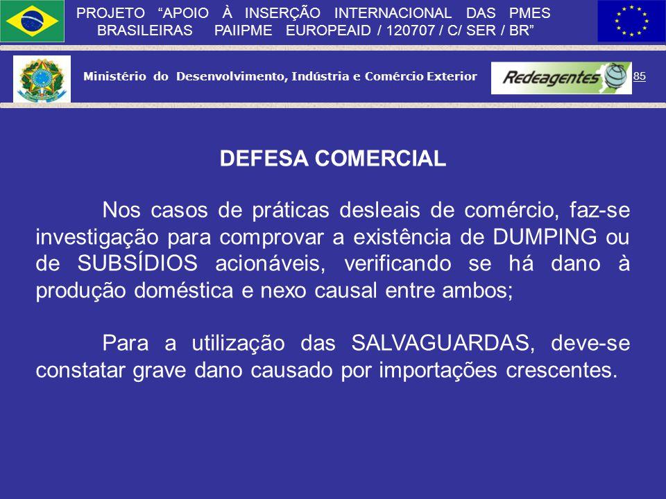 Ministério do Desenvolvimento, Indústria e Comércio Exterior 84 PROJETO APOIO À INSERÇÃO INTERNACIONAL DAS PMES BRASILEIRAS PAIIPME EUROPEAID / 120707