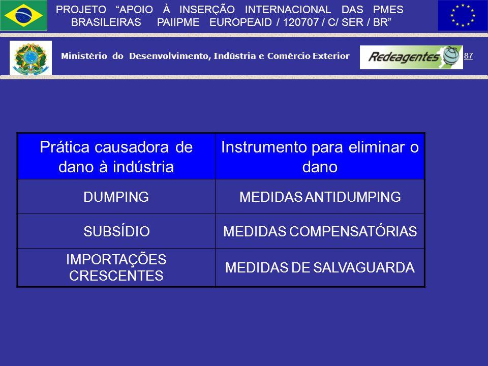 Ministério do Desenvolvimento, Indústria e Comércio Exterior 86 PROJETO APOIO À INSERÇÃO INTERNACIONAL DAS PMES BRASILEIRAS PAIIPME EUROPEAID / 120707