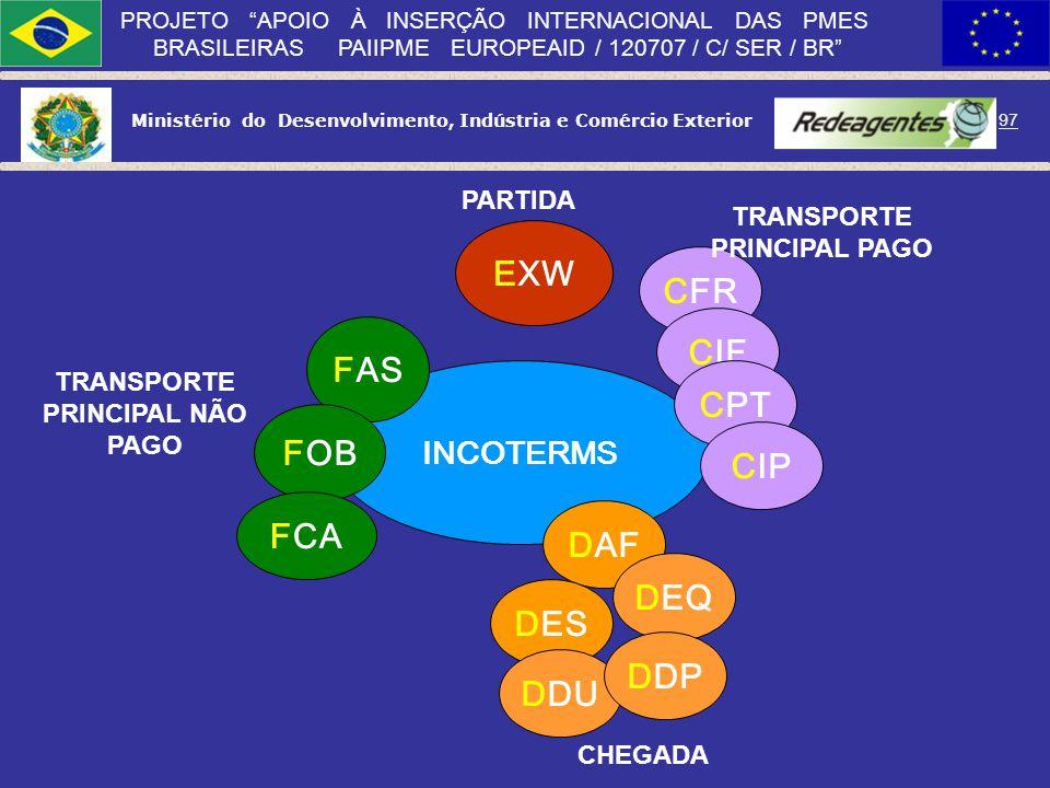Ministério do Desenvolvimento, Indústria e Comércio Exterior 96 PROJETO APOIO À INSERÇÃO INTERNACIONAL DAS PMES BRASILEIRAS PAIIPME EUROPEAID / 120707