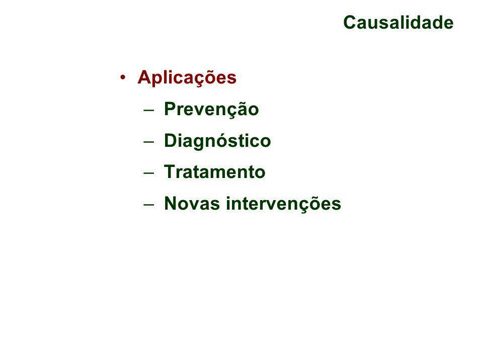 Causalidade Aplicações – Prevenção – Diagnóstico – Tratamento – Novas intervenções