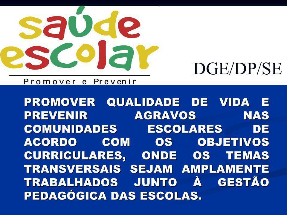 DGE/DP/SE PROMOVER QUALIDADE DE VIDA E PREVENIR AGRAVOS NAS COMUNIDADES ESCOLARES DE ACORDO COM OS OBJETIVOS CURRICULARES, ONDE OS TEMAS TRANSVERSAIS