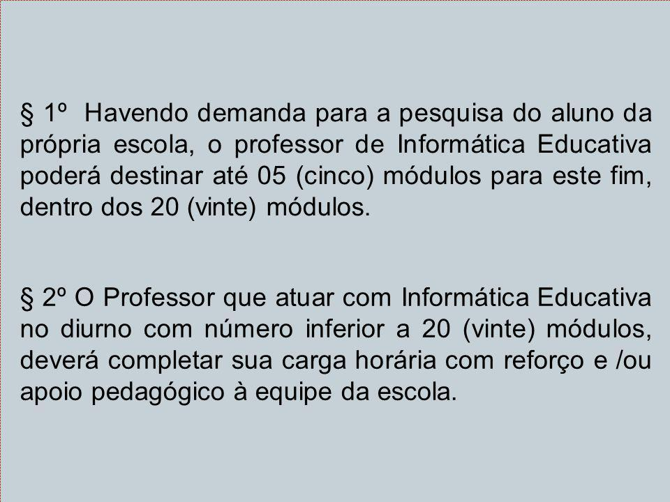 § 1º Havendo demanda para a pesquisa do aluno da própria escola, o professor de Informática Educativa poderá destinar até 05 (cinco) módulos para este