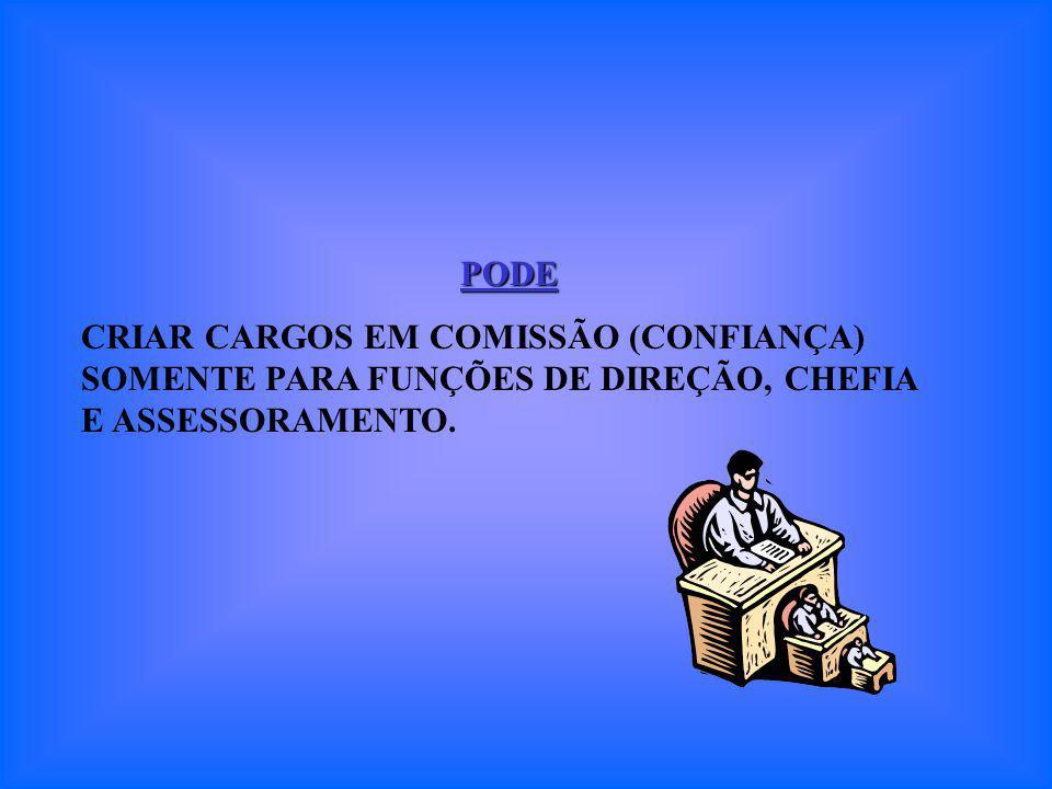 PODE CRIAR CARGOS EM COMISSÃO (CONFIANÇA) SOMENTE PARA FUNÇÕES DE DIREÇÃO, CHEFIA E ASSESSORAMENTO.
