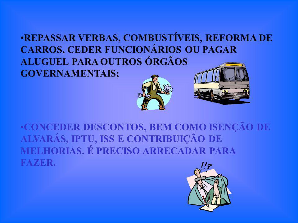 REPASSAR VERBAS, COMBUSTÍVEIS, REFORMA DE CARROS, CEDER FUNCIONÁRIOS OU PAGAR ALUGUEL PARA OUTROS ÓRGÃOS GOVERNAMENTAIS; CONCEDER DESCONTOS, BEM COMO ISENÇÃO DE ALVARÁS, IPTU, ISS E CONTRIBUIÇÃO DE MELHORIAS.