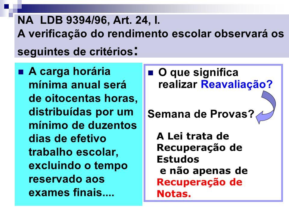 NA LDB 9394/96, Art. 24, I. A verificação do rendimento escolar observará os seguintes de critérios : A carga horária mínima anual será de oitocentas