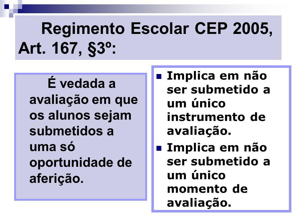Regimento Escolar CEP 2005, Art. 167, §3º: É vedada a avaliação em que os alunos sejam submetidos a uma só oportunidade de aferição. Implica em não se