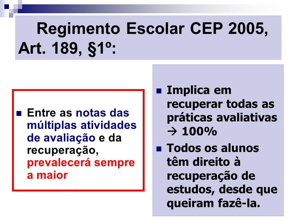 Regimento Escolar CEP 2005, Art. 189, §1º: Entre as notas das múltiplas atividades de avaliação e da recuperação, prevalecerá sempre a maior Implica e