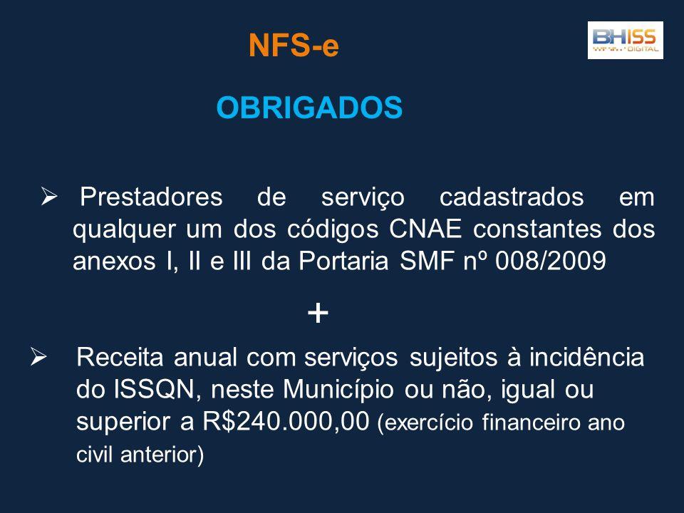 NFS-e OBRIGADOS Prestadores de serviço cadastrados em qualquer um dos códigos CNAE constantes dos anexos I, II e III da Portaria SMF nº 008/2009 Recei