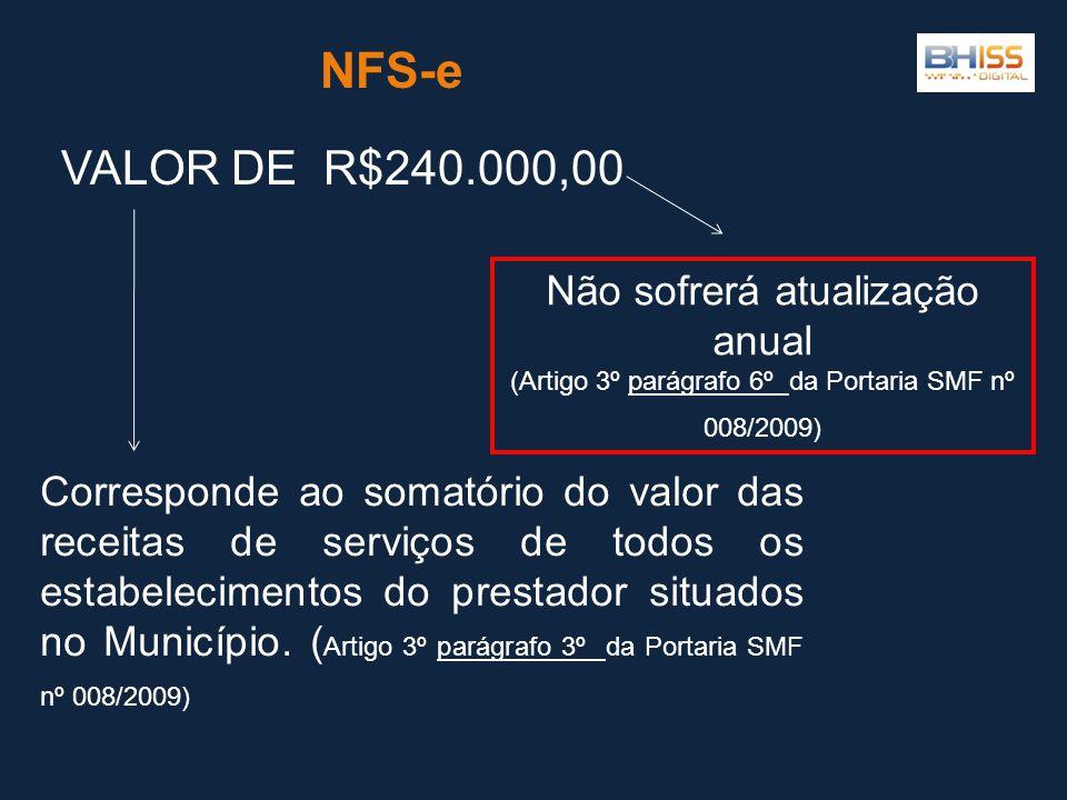 NFS-e Corresponde ao somatório do valor das receitas de serviços de todos os estabelecimentos do prestador situados no Município. ( Artigo 3º parágraf