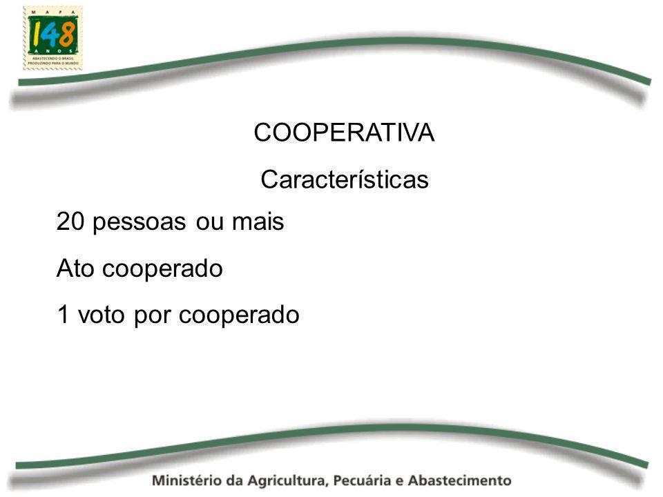 COOPERATIVA Características 20 pessoas ou mais Ato cooperado 1 voto por cooperado