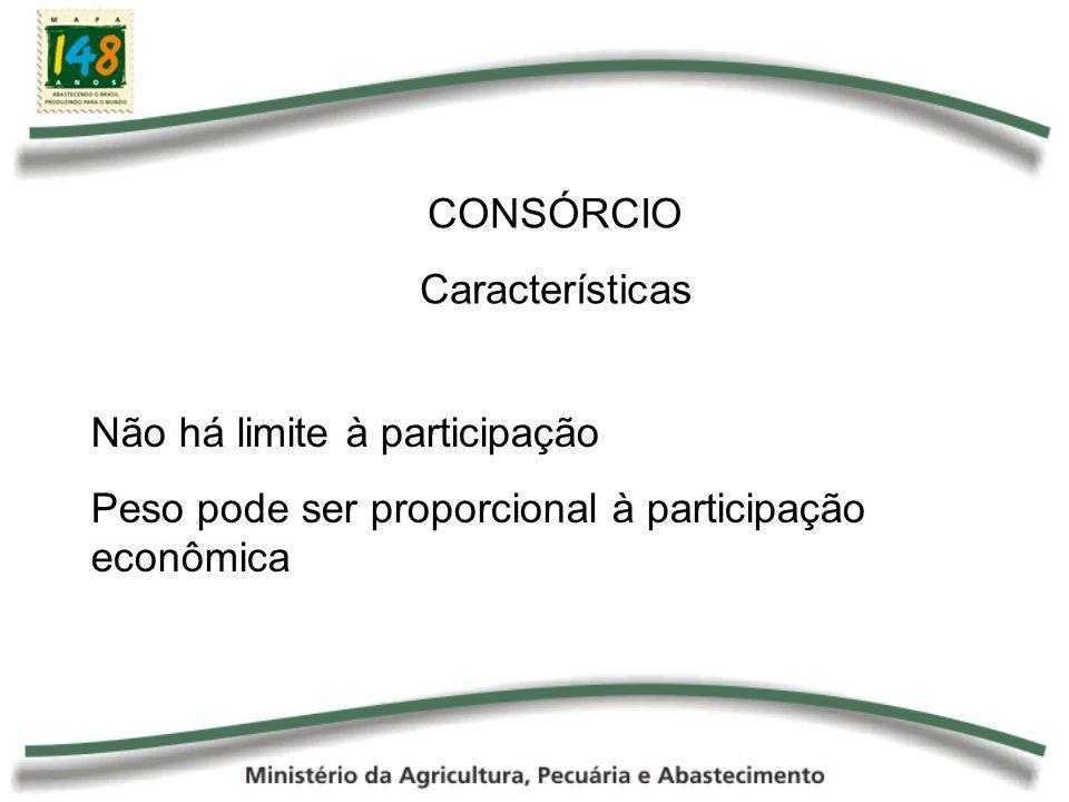 CONSÓRCIO Características Não há limite à participação Peso pode ser proporcional à participação econômica