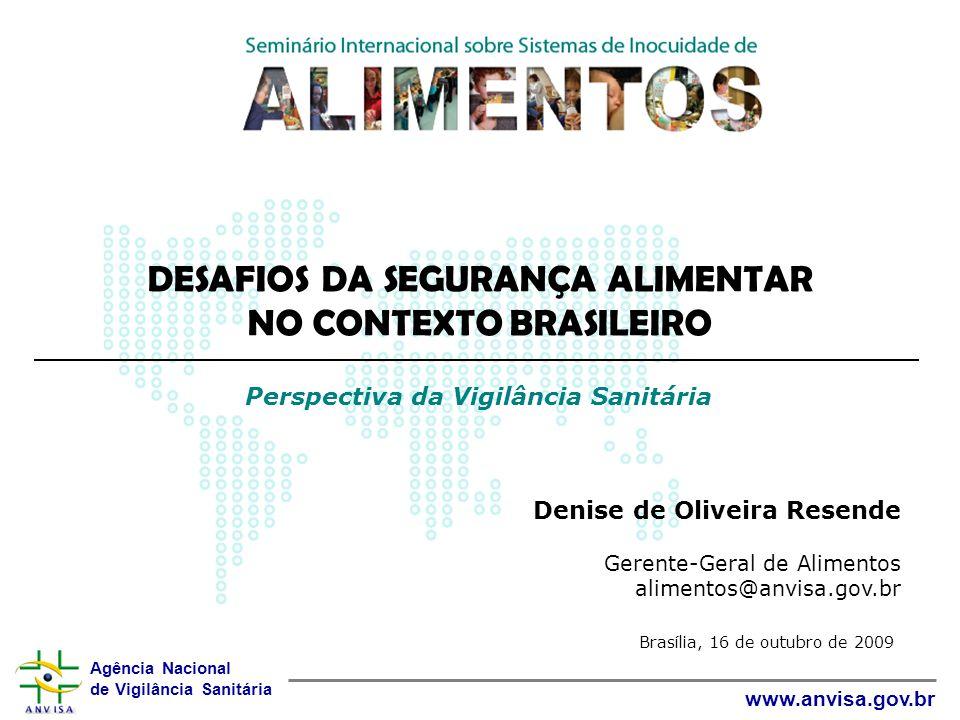 Agência Nacional de Vigilância Sanitária www.anvisa.gov.br Denise de Oliveira Resende Gerente-Geral de Alimentos alimentos@anvisa.gov.br DESAFIOS DA S