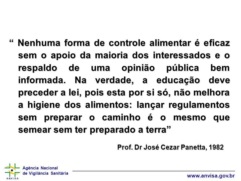 Agência Nacional de Vigilância Sanitária www.anvisa.gov.br Nenhuma forma de controle alimentar é eficaz sem o apoio da maioria dos interessados e o re