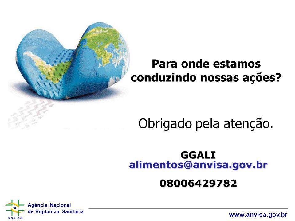Agência Nacional de Vigilância Sanitária www.anvisa.gov.br Para onde estamos conduzindo nossas ações? Obrigado pela atenção. GGALI alimentos@anvisa.go