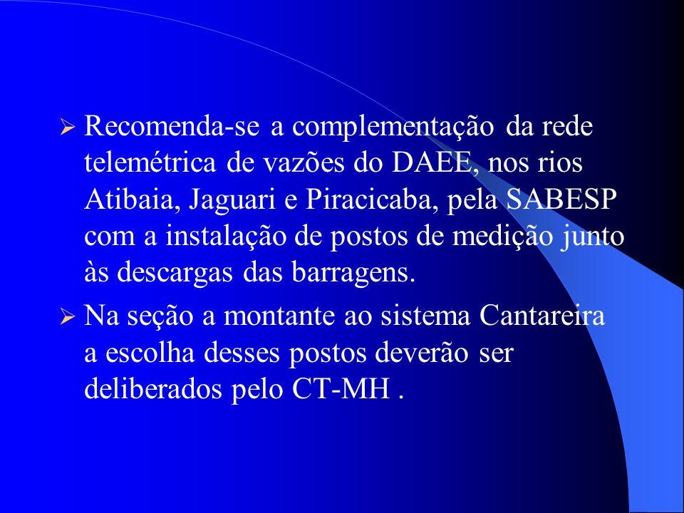 As descargas do sistema Cantareira, deverão ser executadas pela Sabesp em comum acordo com CT-MH. Em emergências e/ou com pluviometria favorável, o CT