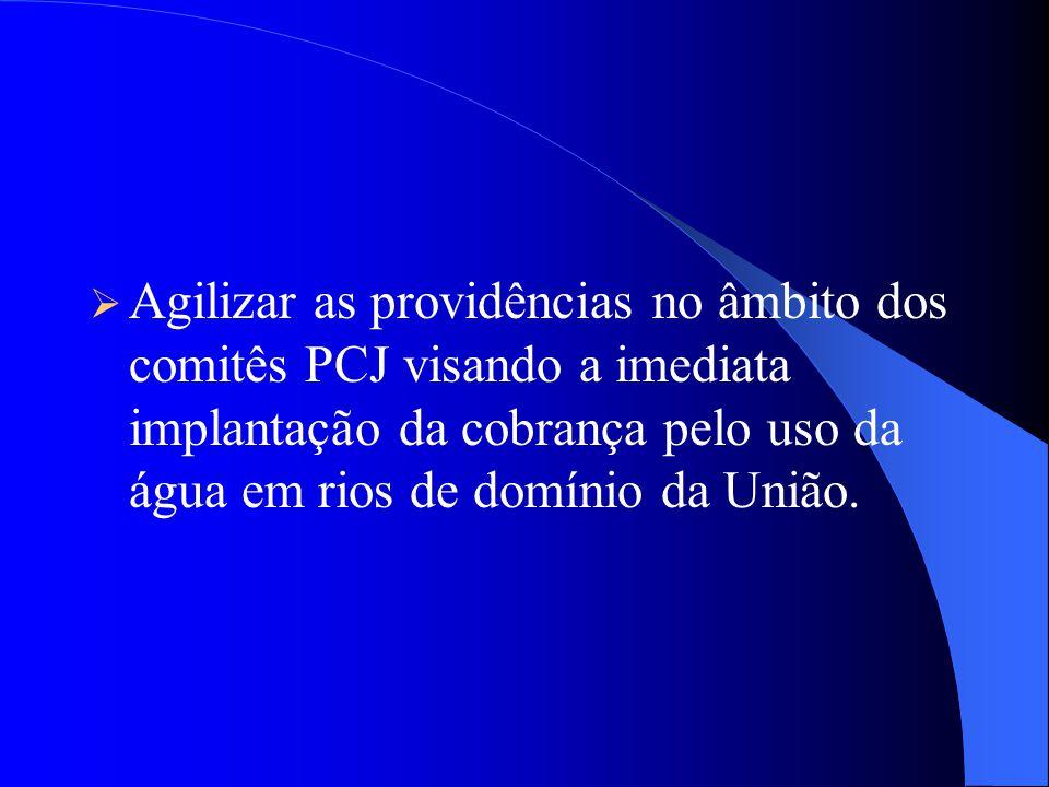 RECOMENDAÇÕES AOS COMITÊS: CBH-PCJ E PCJ FEDERAL Apresentar moção ao Governo do Estado de São Paulo, visando a revisão do Plano Diretor de Água da RMS