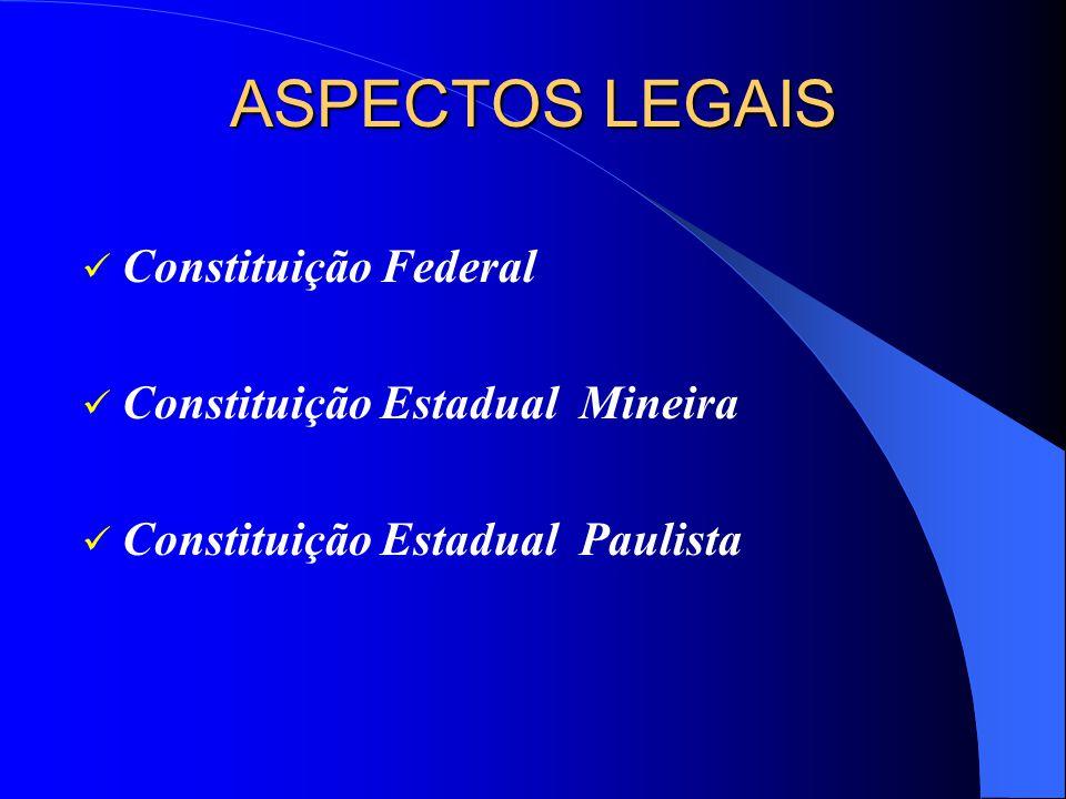 ASPECTOS LEGAIS Constituição Federal Constituição Estadual Mineira Constituição Estadual Paulista