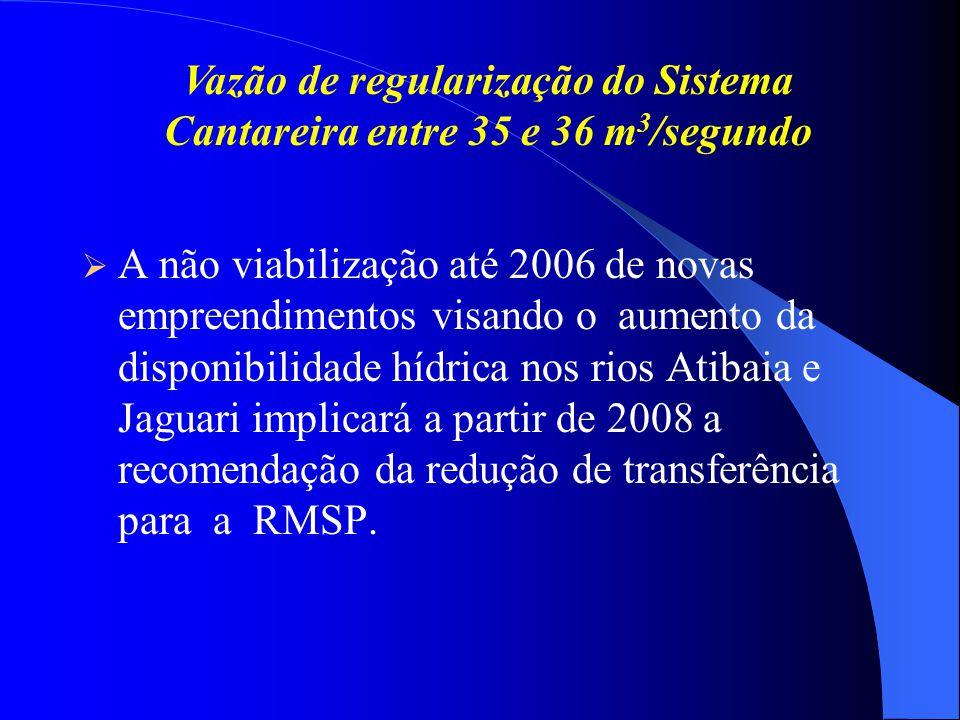 A não viabilização até 2006 de novas empreendimentos visando o aumento da disponibilidade hídrica nos rios Atibaia e Jaguari implicará a partir de 2008 a recomendação da redução de transferência para a RMSP.