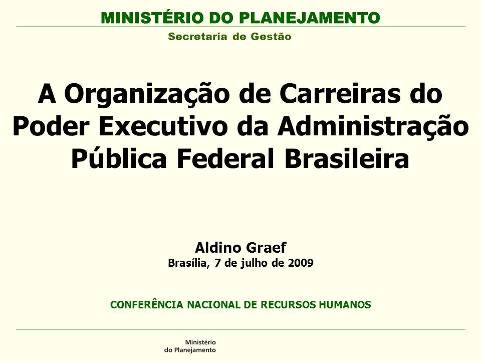 MINISTÉRIO DO PLANEJAMENTO Secretaria de Gestão A Organização de Carreiras do Poder Executivo da Administração Pública Federal Brasileira MINISTÉRIO D